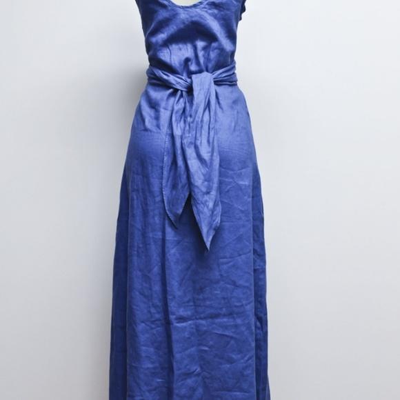 31293bc78ad Merona Blue Linen Sleeveless Muti Tie Maxi Dress